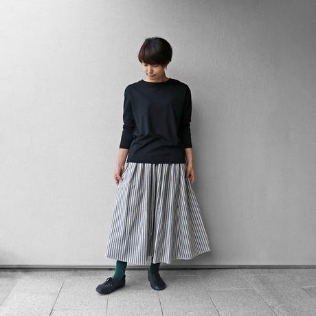 シーチングコットンロングスカート(グレー×グレージュ)【レディス】U402