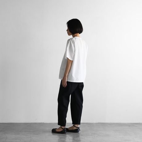 オーガニックコットン半袖リブプルオーバ(白)【ユニセックス】610