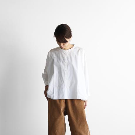 オーガニックコットンバンドカラーワイドブラウス(白)【レディス】