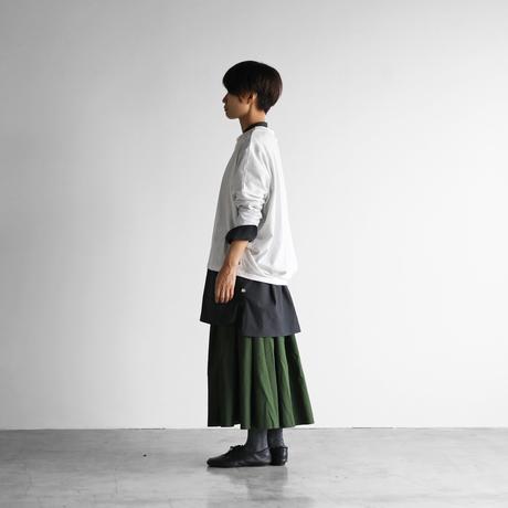 コードレーンバンドカラーロングシャツ(黒ストライプ)【ユニセックス】 007