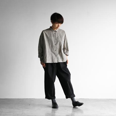 シーチングコットンワイドブラウス(グレー×グレージュ)【レディス】U105