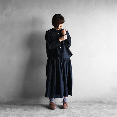 ウォッシャブルウールワイドブラウス(ブラック)【レディス】
