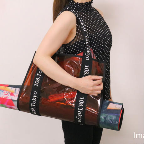 yogaマットポケット付き ヨガマットケース クリアバック トートバック