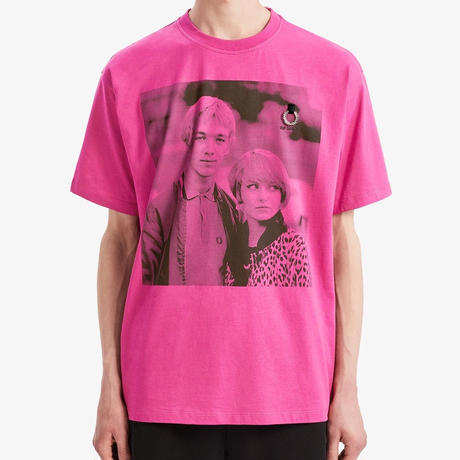 FRED PERRY x RAF SIMONS / PRINTED T-SHIRT / PINK