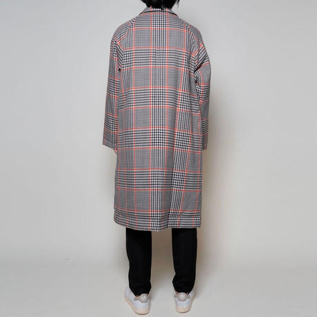 UNDECORATED / Gun-club check reversible coat / WHITE-BEIGE
