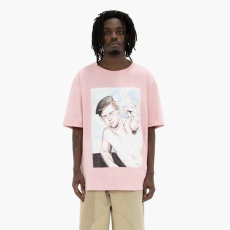 JW ANDERSON / OVERSIZED PRINTED FACE T-SHIRT / PINK
