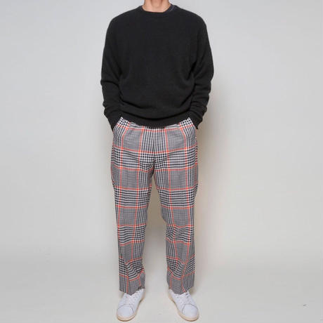 UNDECORATED / Gun-club check wide pants / WHITE