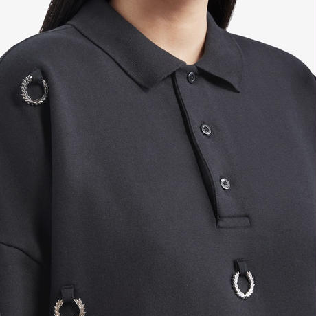 FRED PERRY x RAF SIMONS / OVERSIZED MULTI LAUREL WREATH POLO SWEATSHIRT / BLACK