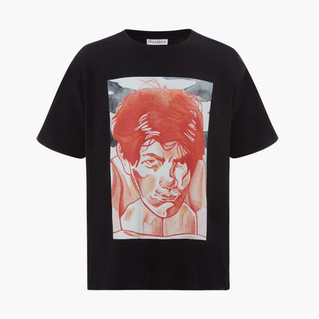 JW ANDERSON / OVERSIZED PRINTED FACE T-SHIRT / BLACK