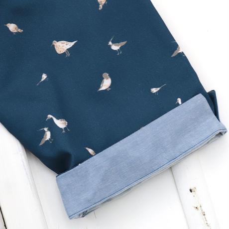 お散歩鳥プリント半袖ワンピース (紺)