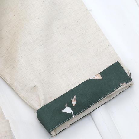 お散歩鳥プリント半袖ワンピース (生成り)