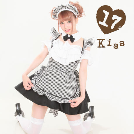 Gingham check maid Black cherry