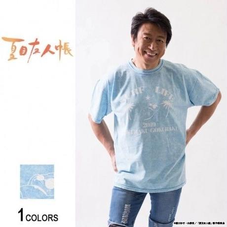 『夏目友人帳』井上和彦プロデュース ニャンコ先生「極楽」Tシャツ(ベイビーブルー)(男女兼用)【backside of tokyo】