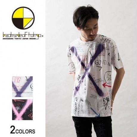 総柄グラフィティクロスプリントTシャツ(男女兼用)【backside of tokyo】