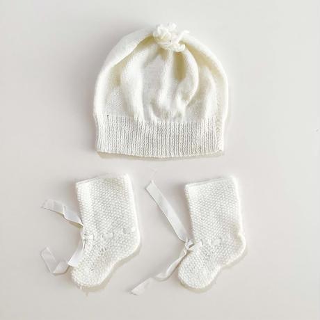 knitting hat&booties set (dead stock)