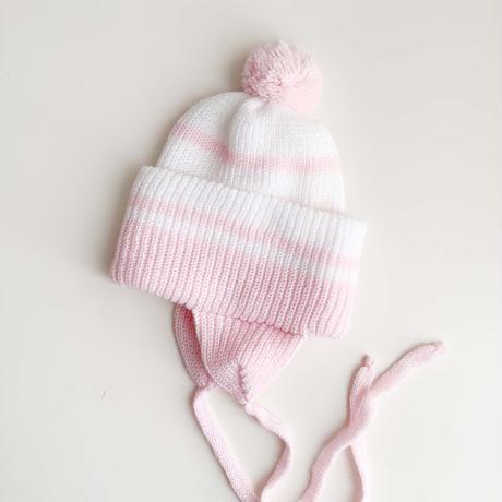 pink&white knitting hat (dead stock)