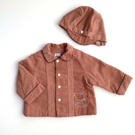 bear corduroy jacket&hat set