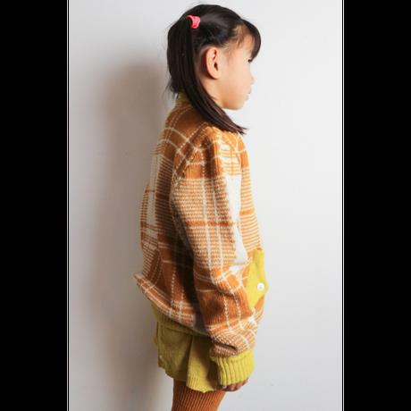 LIGNE NOIRE ENFANTS_ TARTAN JACKET (Gold Beige/Fuxia)