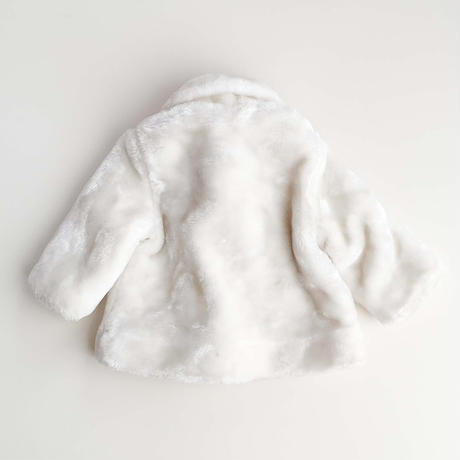 white fur coat&bonnet set