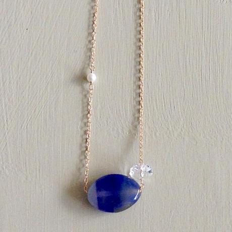 ブルーアゲード&水晶ネックレス