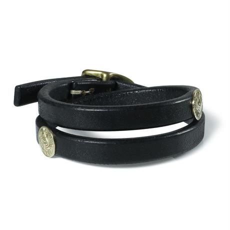 357LJY Concho Leather Bracelet Double (K18YG)