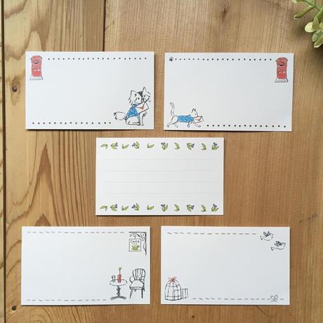 手描き風イラスト*ミニカード/カフェテラス/6枚
