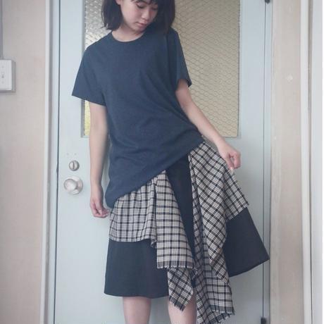 ひらひらチェック2wayスカート B.ブラック