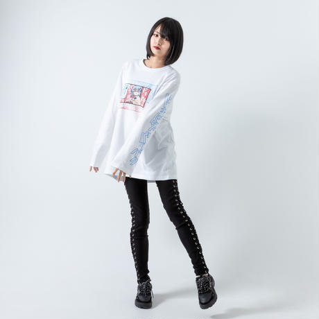 42×Hamburger chan - DOKIBAKU / Long Sleeve T-shirt(WHT)
