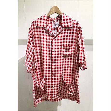 NuGgETS / Open-necked-shirt ''Check'' #Red/ size:Free