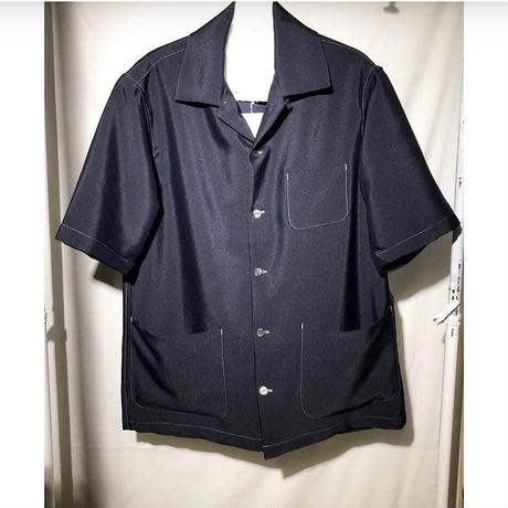 NuGgETS  s/s open-necked Shirt - wt. stitch