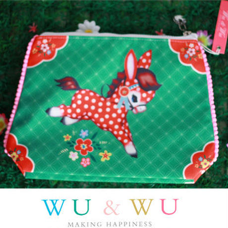 Wu & Wuのトラベルポーチ(大)☆インポート雑貨☆レトロで可愛いお馬さんとグリーンが新鮮なポーチ【レトロ】【ポニー】【小物入れ】【キッチュ】