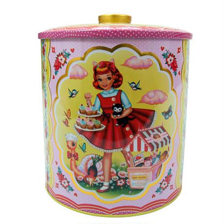 UK発☆Wu&Wu☆ねこガールとカタツムリ等のキッチュなフレンズのブリキ缶(大)cookie tin【cotton candy】
