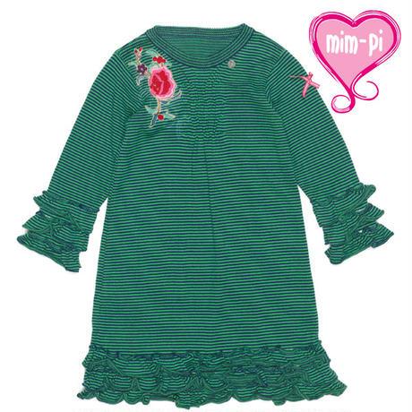 オランダMim-Pi(ミンピ)のニットワンピ★お花の刺繍とフリフリが可愛いグリーンストライプワンピース