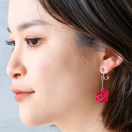 ワイヤーダイヤモンド イヤリング【赤・紫・青・黄・黒・グレー】(ピアスへの変更可能)