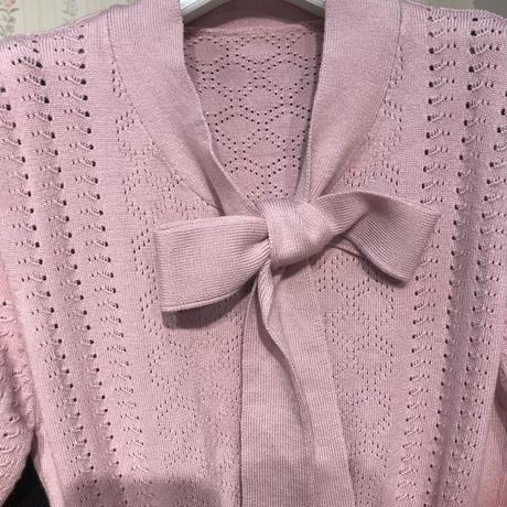 透かし編みふわふわニットワンピ♡くすみピンク