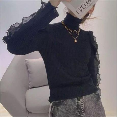 【再入荷】肩あきフリルニット♡ブラック