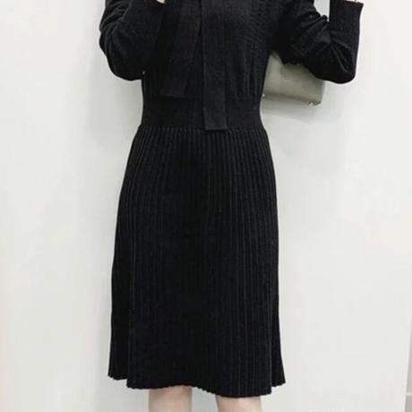透かし編みふわふわニットワンピ♡ブラック
