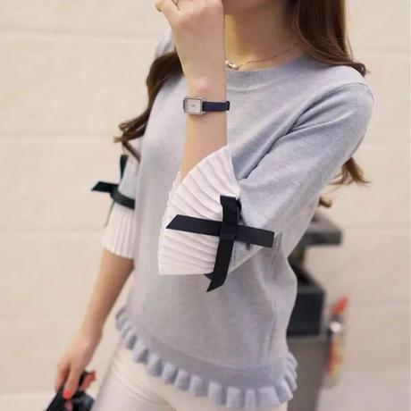 【NEW】お袖プリーツニット ライトグレー