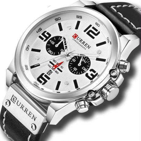 メンズ腕時計 クォーツ腕時計 防水 クロノグラフ CURREN カジュアル ビジネス ホワイト 人気