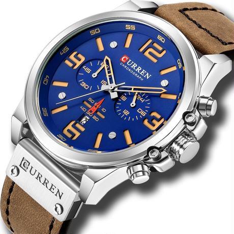 メンズ腕時計 クォーツ腕時計 防水 クロノグラフ CURREN カジュアル ビジネス ブルー 人気