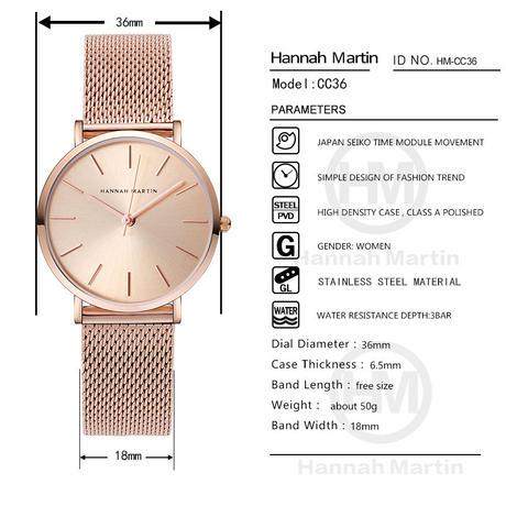 レディース 腕時計 Hannah Martin  クオーツ クラシック シンプル 女性 時計 ビジネス ローズゴールド シルバー 人気商品