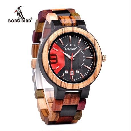 BOBO BIRD 腕時計 日付表示 木製腕時計 カラフル カジュアル メンズ クォーツ 木の温もり