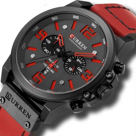 メンズ腕時計 クォーツ腕時計 防水 クロノグラフ CURREN カジュアル ビジネス レッド 人気