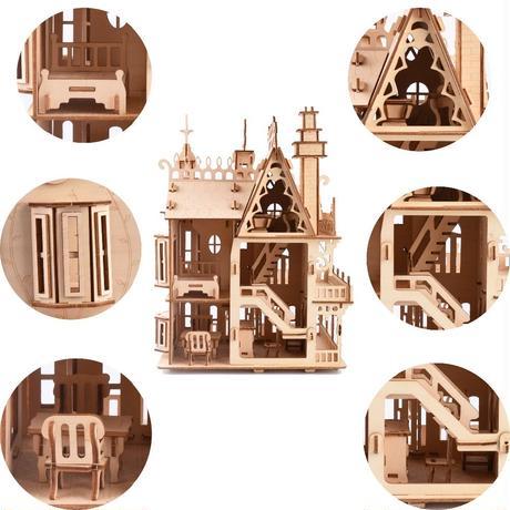 3D立体パズル 木製 DIY 工作キット ヨーロッパ 知育玩具 モンテッソーリ ミニチュア