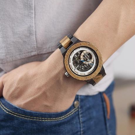 BOBO BIRD 木製腕時計 カジュアル メンズ クォーツ 機械式腕時計 レトロ 2色からお選び頂けます