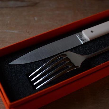 Perceval  9.47テーブルナイフ1本とテーブルフォーク1本のSET(ホワイト)