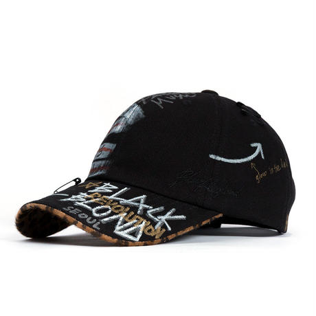 Blackblond Calf Leopard Ghost Graffiti Cap (Black/Brown)