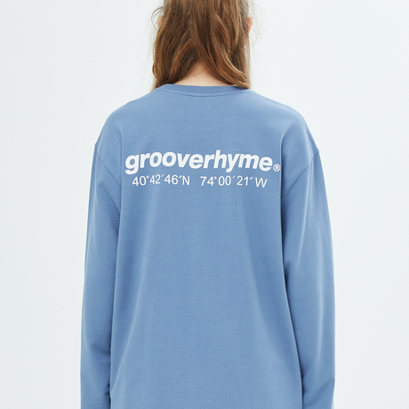 『grooverhyme』  NYC ロケーションロングスリーブ Tシャツ (Blue)