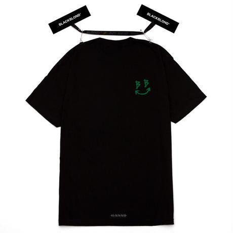 『BLACKBLOND』  デビルスマイルロゴ半袖 Tシャツ(Black)