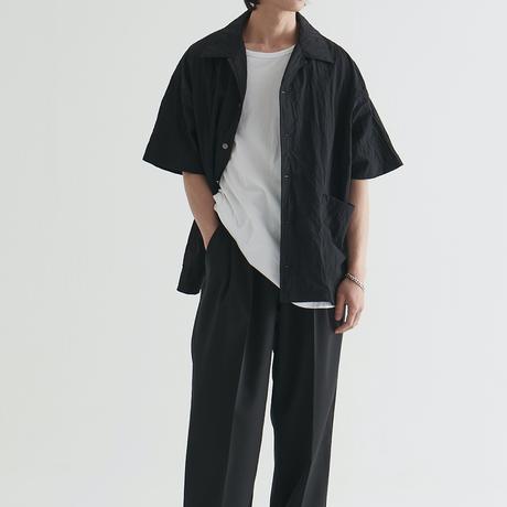 『 BY:L 』    ナイロンクリンクルオーバーシャツ (Black)